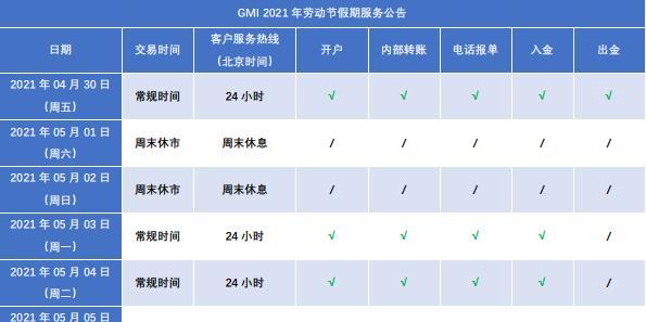 GMI公告 - 2021劳动节服务时间调整通知